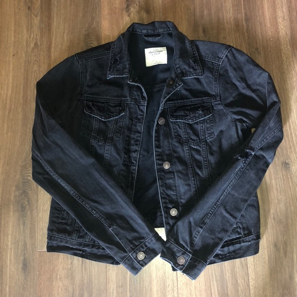 Abercrombie & Fitch Jackets & Blazers - Abercrombie distressed black denim jacket